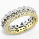 TK3232 Two-Tone IP Gold Stainless Steel Ring AAA CZ (14k) Eternity Ring