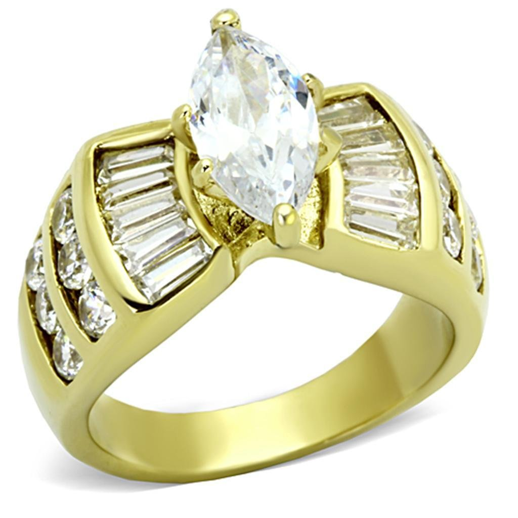 TK1235 IP Gold Stainless Steel AAA CZ (14K) Marquise Ring