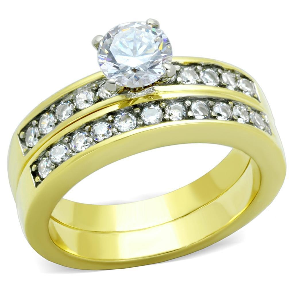TK8X003 Two-Tone IP Gold Stainless Steel AAA CZ (14K) Wedding Ring