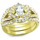 TK2743 IP Gold Stainless Steel AAA CZ (14K) Marquise Ring