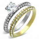 TK967 Two-Tone IP Gold Stainless Steel AAA CZ 14K Round Cut Ring