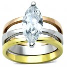 TK964 Three Tone IP Gold & IP Rose Gold & High Polished) Stainless Steel AAA CZ 14K Marquise Ring