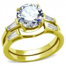 TK44701 IP Gold Stainless Steel AAA Grade CZ Round Cut Wedding Ring14K
