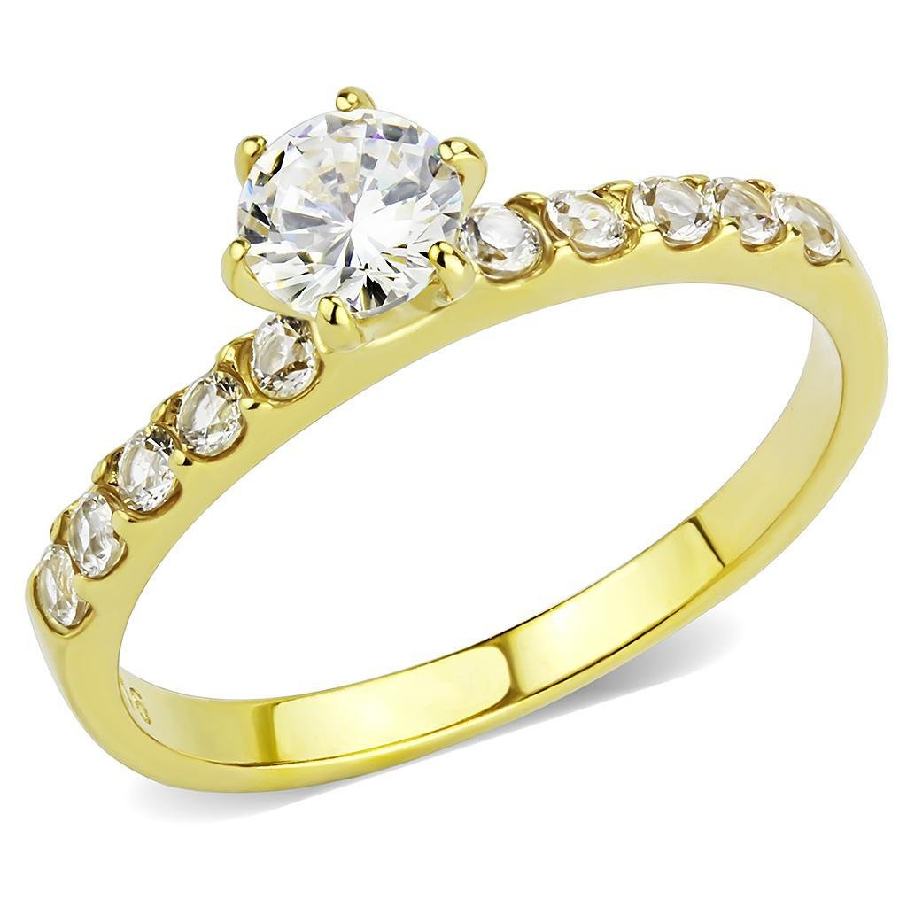 TK3605 IP Gold Stainless Steel AAA Grade CZ Round Cut (14K) Engagement Ring
