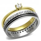 TK3108 Two-Tone IP Gold Stainless Steel AAA Grade CZ (14K) Wedding Ring