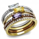 TK2960 Three Tone Gold Light coffee Stainless Steel AAA Grade CZ (14) Oblong Multi Color Ring