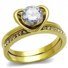 TK2295 iP Gold Stainless Steel AAA Grade CZ Round Cut (14) K Ring