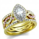 TK2129  Two-Tone IP Gold Stainless Steel AAA Grade CZ (14K) Marquise Ring
