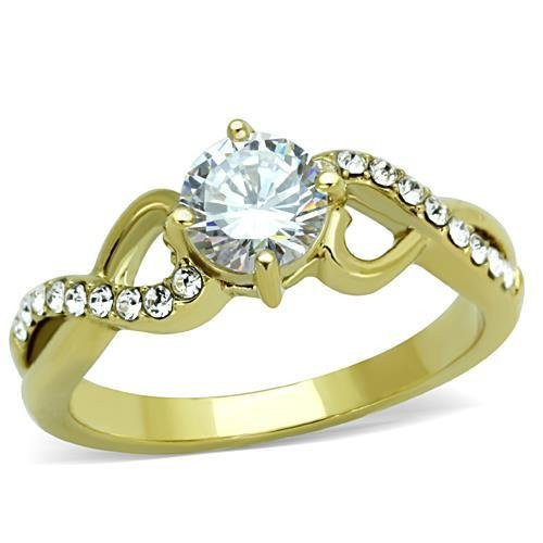 TK1722 IP Gold Stainless Steel AAA Grade Round Cut CZ (14K) Ring