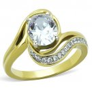 TK1703 Two-Tone IP Gold Stainless Steel Ring AAA Grade CZ Ring