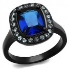 TK2283 - Two-Tone IP Black Stainless Steel Synthetic Glass Montana Engagement Ring