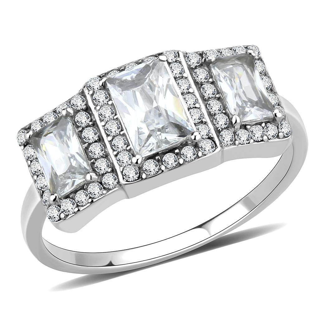 DA322 Stainless Steel AAA Grade CZ Engagement Ring