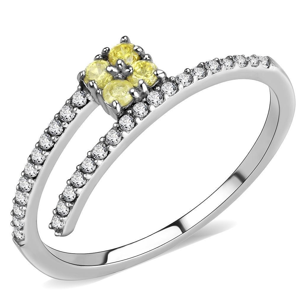 DA338 Stainless Steel AAA Grade CZ Topaz Engagement Ring