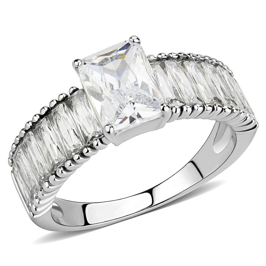TK3608 Stainless Steel Ring AAA Grade CZ Engagement Ring