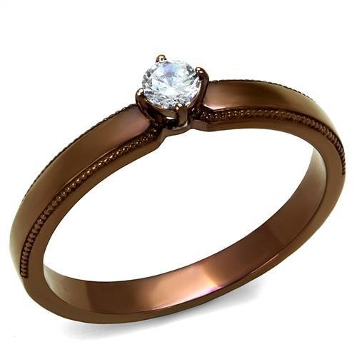 TK2621 IP Coffee light Stainless Steel AAA Grade CZ Engagement Ring