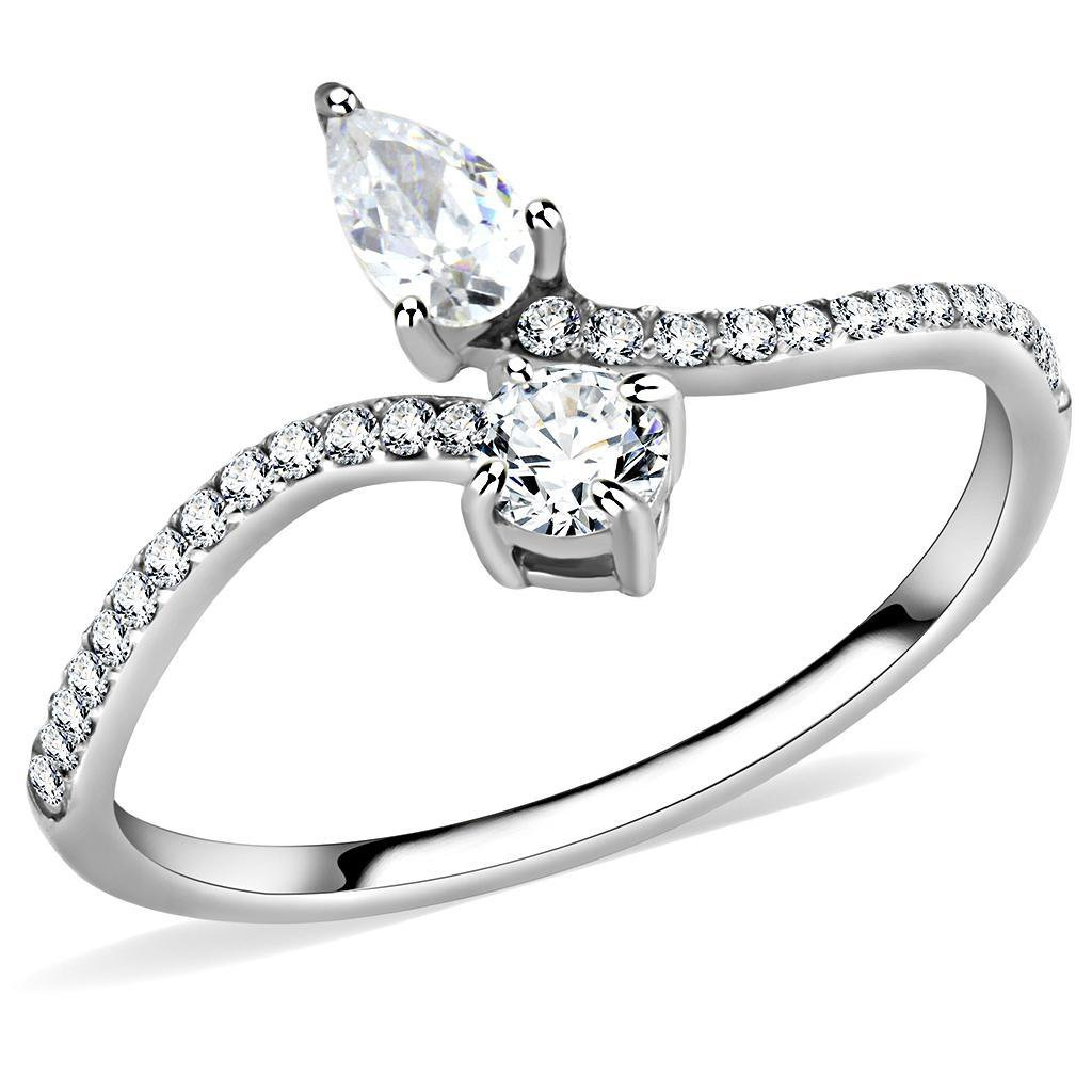 DA138 High polished Stainless Steel AAA Grade CZ Engagement Ring