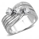 TK3633 High polished Stainless Steel AAA Grade Round Cut CZ Engagement Ring