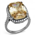 TK2503 High polished Stainless Steel Ring AAA Grade CZ Champagne Engagement Ring