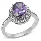 TK3032 High polished Stainless Steel AAA Grade CZ Amethyst Engagement Ring