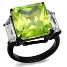 TK2275 IP Black Stainless Steel AAA Grade CZ Apple Green Engagement Ring