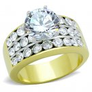 TK1553 Two-Tone IP Gold Stainless Steel Ring AAA Grade CZ Engagement Ring