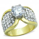 TK1547 Two-Tone IP Gold Stainless Steel AAA Grade CZ Engagement Ring