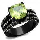 TK2491 IP Black Stainless Steel AAA Grade CZ Apple Green Engagement Ring