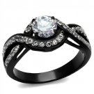 TK2282 Two-Tone IP Black Stainless Steel AAA Grade CZ Round cut Engagement Ring