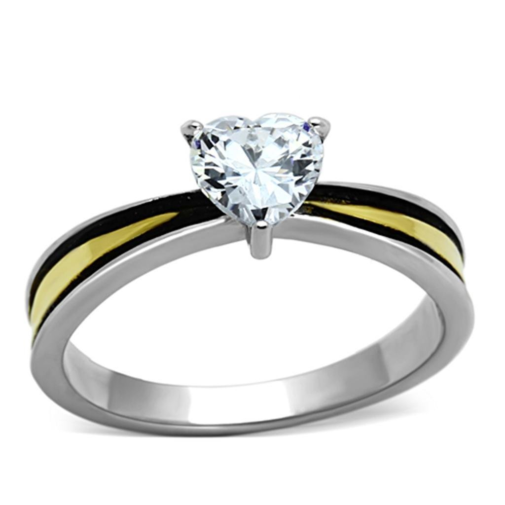 TK1283 Two-Tone IP Gold Stainless Steel AAA CZ Heart Shape Engagement Ring