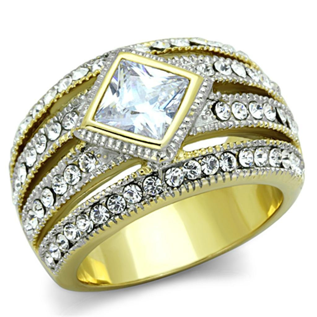 TK1551 Two-Tone IP Gold Stainless Steel AAA Grade CZ Engagement Ring
