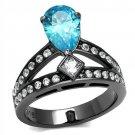 TK2775 IP Light Black Stainless Steel AAA Grade CZ Pear Cut Sea Blue Engagement Ring