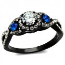 TK2286 Two-Tone IP Black Stainless Steel AAA Grade CZ Round Cut Engagement Ring