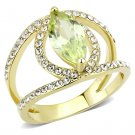 TK3578 IP Gold Stainless Steel Ring AAA Grade CZ Apple Green Marquiste cut Engagement Ring