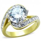 TK1911 Two-Tone IP Gold Stainless Steel Ring AAA Grade CZ Round cut Engagement Ring