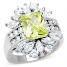 TK176 High polished Stainless Steel AAA Grade CZ Square cut Apple Green Engagement Ring