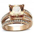 TK1665 IP Rose Gold Stainless Steel AAA Grade CZ Square cut Champagne Engagement Ring