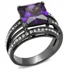 TK1665LJ IP Light Black Stainless Steel Ring AAA Grade Square cut CZ  Amethyst Engagement Ring