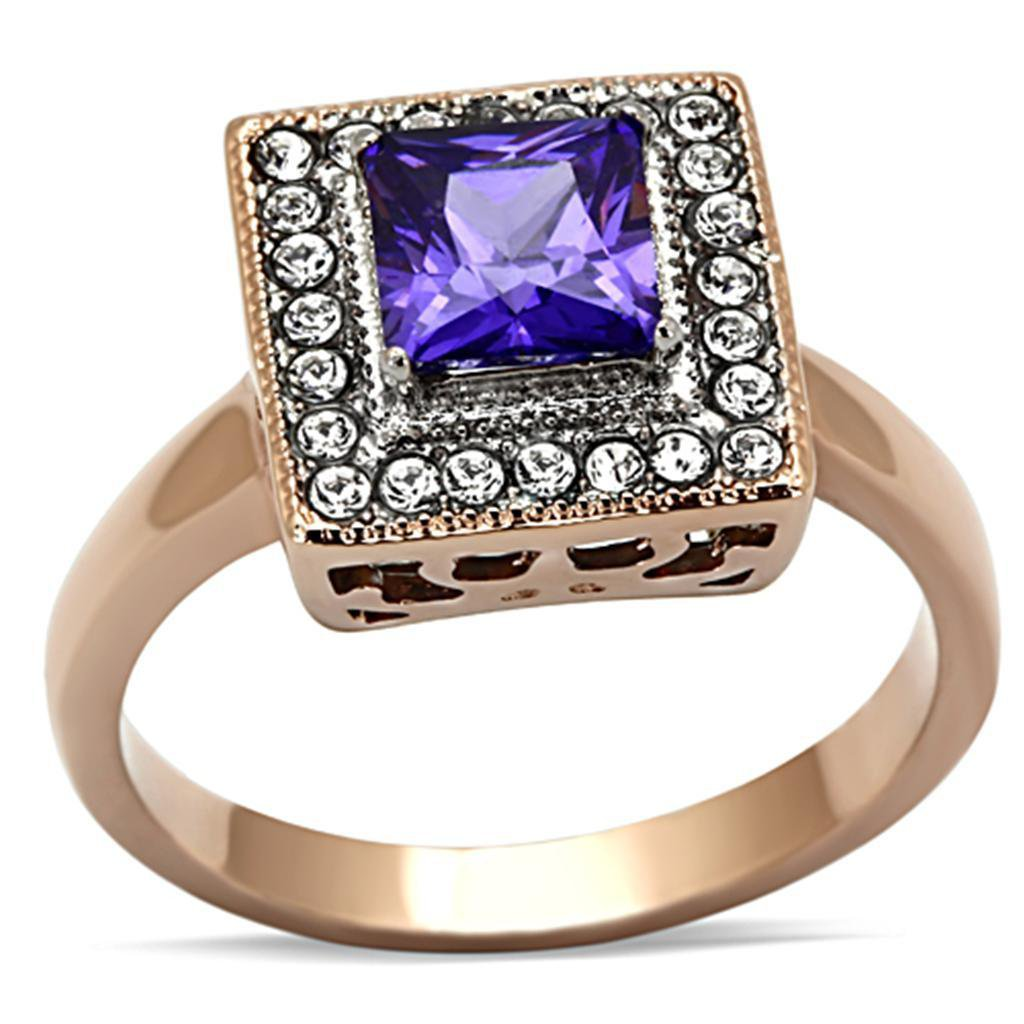 TK1162 Two-Tone IP Rose Gold Stainless Steel AAA Grade Square cut CZ Tanzanite Engagement Ring