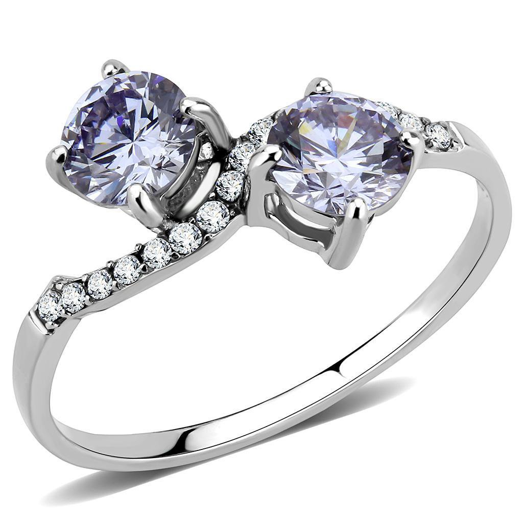 DA244 High polished Stainless Steel AAA Grade CZ Round cut Light Amethyst Engagement Ring