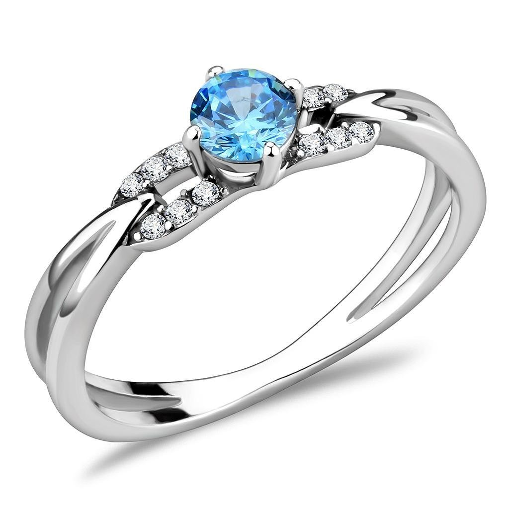 DA116 High polished Stainless Steel AAA Grade Round cut CZ Sea Blue Engagement Ring