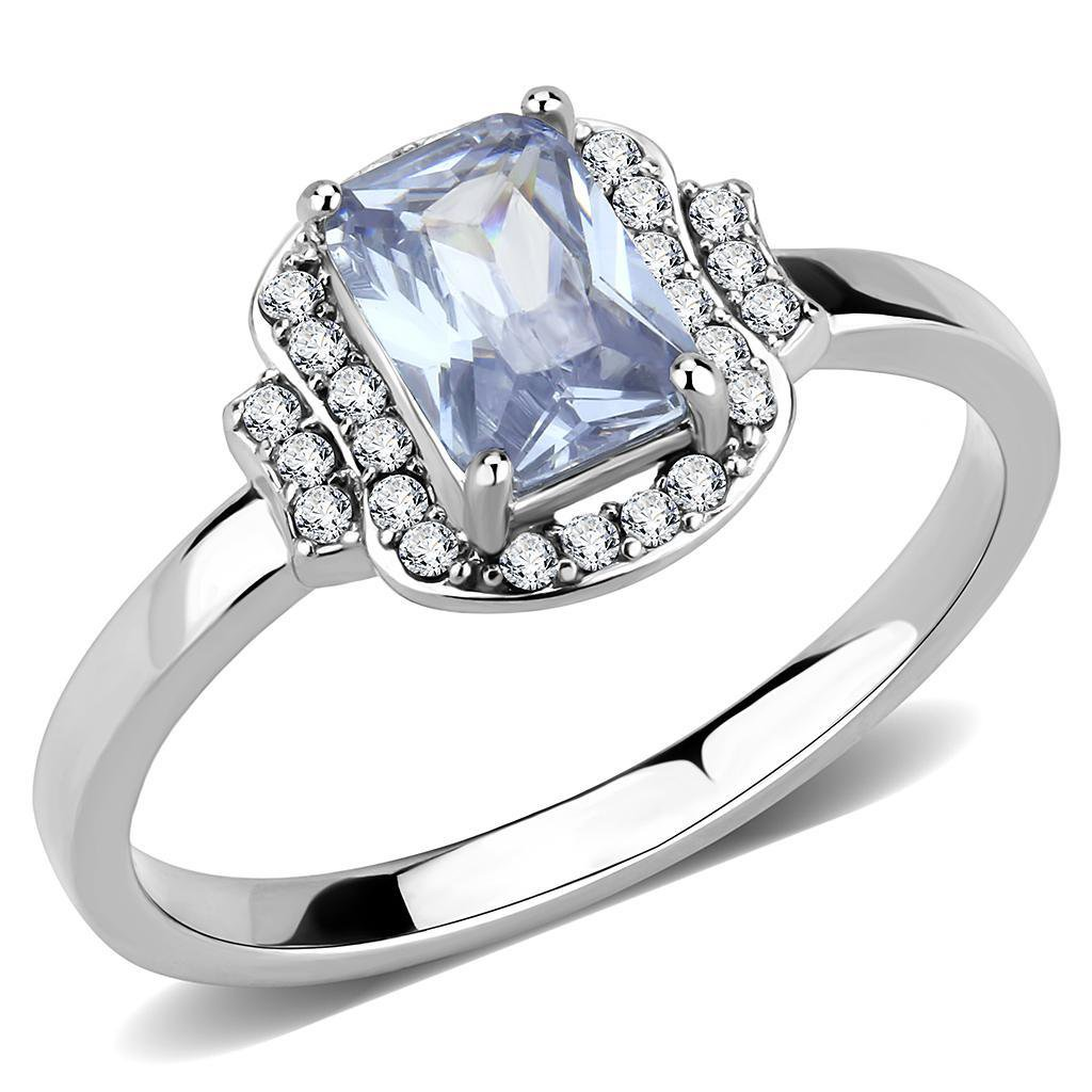 DA246 High polished Stainless Steel AAA Grade Oblong CZ Light Amethyst Engagement Ring