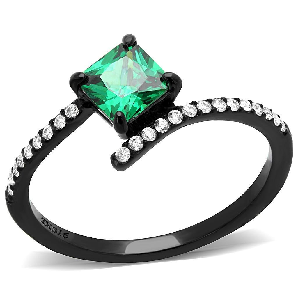 DA017 IP Black Stainless Steel AAA Grade CZ Square cut Emerald Engagement Ring