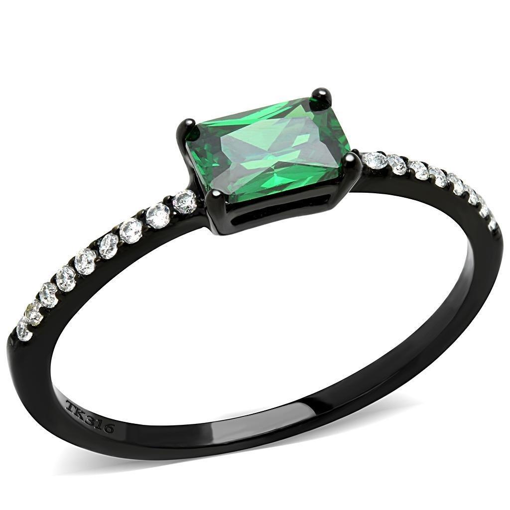 DA010 IP Black Stainless Steel AAA Grade CZ Emerald Engagement Ring