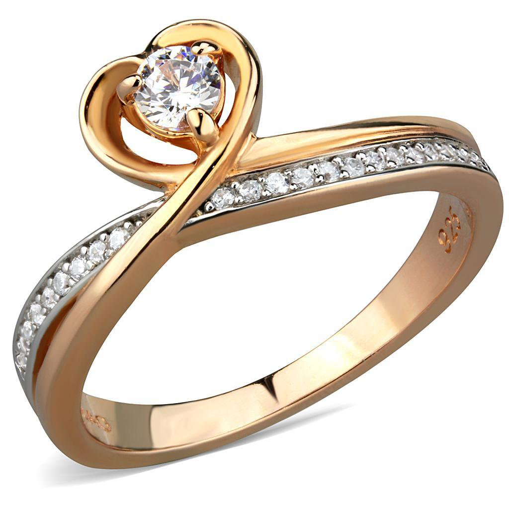 TS544 Rose Gold + Rhodium 925 Sterling Silver AAA Grade CZ Round Cut Heart Engagement Ring