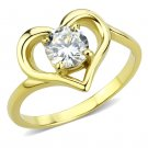 TK3628 IP Gold Stainless Steel AAA Grade CZ Round Cut Heart Engagement Ring