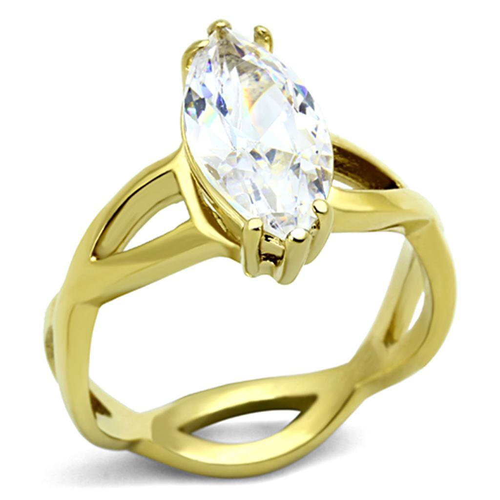 TK1106 IP Gold Stainless Steel AAA Grade CZ Marquise Cut Engagement Ring