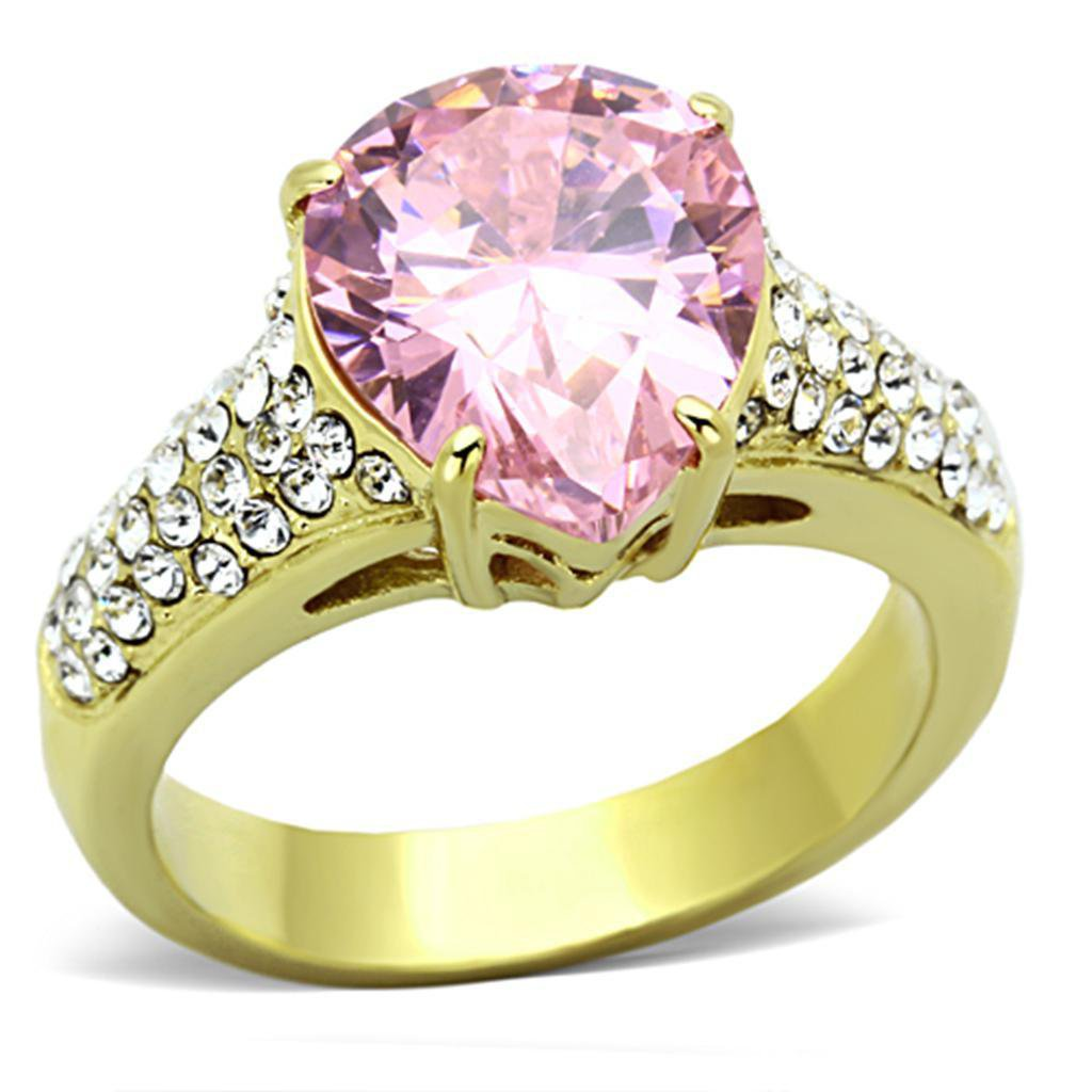 TK1098 IP Gold Stainless Steel Grade CZ Pear Cut Rose Engagement Ring