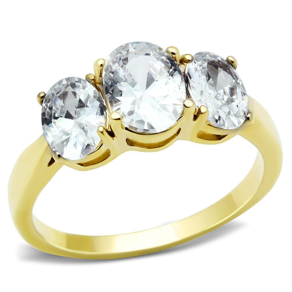 TK3671 IP Gold Stainless Steel Ring AAA Grade CZ Oval Cut 3 Stone Engagement Ring