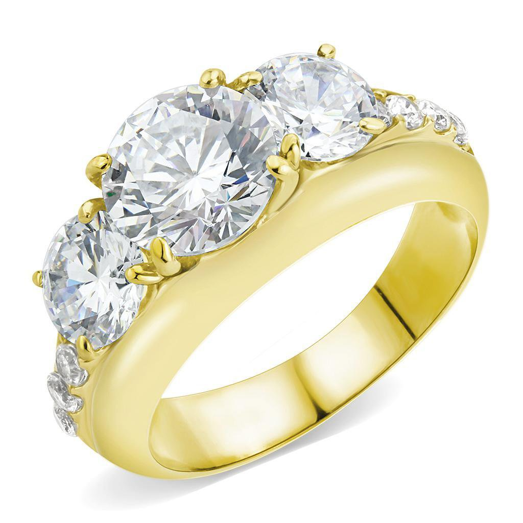 TK3669 IP Gold Stainless Steel AAA Grade CZ Round Cut 3 Stone Engagement Ring