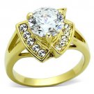 TK1412 IP Gold Stainless Steel AAA Grade CZ Round Cut Engagement Ring